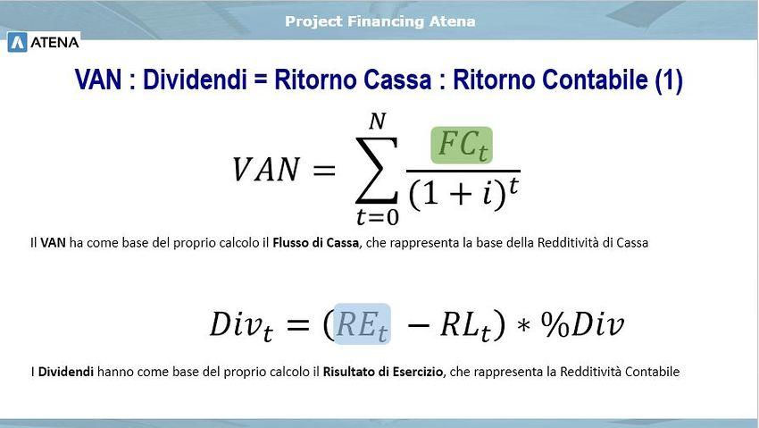 Il VAN ha come base del proprio calcolo il Flusso di Cassa;  I Dividendi hanno come base del proprio calcolo il Risultato di Esercizio.