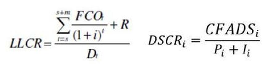 Formule LLCR e DSCR
